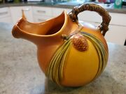 Beautiful Vintage Roseville Pottery Brown Pine Cone Pitcher 7.75 Rare