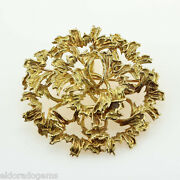 Estate Vintage And Co. Flower 2andrdquo Pin Brooch Pendant 18k Yellow Gold 28gram
