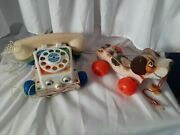Vintage Fisher Price Phone And Little Snoopy Dog - Fair Condition