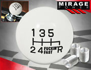 For Toyota 6-speed Round Ball Type Solid Shift Knob Adapter Set Threaded White