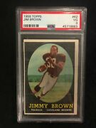 1958 Topps Football Jim Brown Rookie Card Psa 3 New Clean Case W/free Shipping