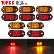 5x Amber+ 5x Red Led Car Truck Trailer Rv Oval 2.5 Side Clearance Marker Lights