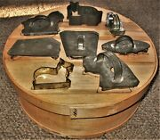 Vintage Wooden Cheese Box W Pyrography On Cover + 6 Flat Back Cookie Cutters +2