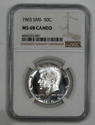 1965 Sms Kennedy Half Dollar 50c Ngc Ms 68 Mint State Unc - Cameo 001