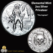 Elemental Mint Privateer 2oz Silver - The Captain Pirate Skull Coin