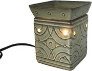 Green Square Wax Tall Lighted Burner Scentsy Full Size Warmer Leno Dsw-leno