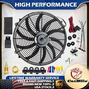 16 Electric Radiator Cooling Fan High 3000 Cfm Thermostat Relay Switch Kit 12v