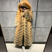 Women Real Fox Fur Coat Natural Fox Fur Coat Long Sleeve Hooded Fox Fur Coat