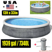 Bestway 13ft X 33in Inflatable Round Above Ground Swimming Pool Kit +filter Pump
