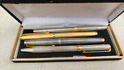 St Dupont Parker 75 Sterling Silver And Gold Plated Fountain Pens - Lot Of 4 Pens