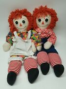 Vintage 1970and039s Large 38 Knickerbocker Pair Of Raggedy Ann And Andy Dolls