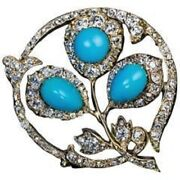 Turquoise And Cz Brooch 925 Sterling Silver Gold Plated Vintage Style Fine Jewelry