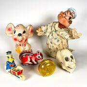 Vintage Toy Lot Popeye Hand Puppet Wind Up Skull Duncan Yo-yo Donald Duck Mouse
