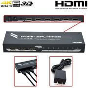 1x8 1 In 8 Out Hdmi Splitter Switcher Repeater 4k 60hz Hdtv 1080p 3d 18gbps
