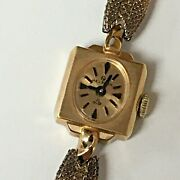 Vintage Helbros 21 Jewels Dainty Square Wind Up Watch 1/20 10k Gold Fill Band