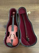 Vintage Miniature 7 Wooden Violin With Bow In Case