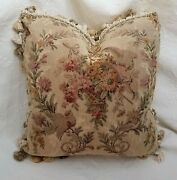 19th C. Antique Tapestry Pillow Birds Flowers Green Pink Red Custom Made