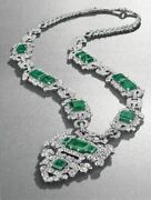 Art Deco Style Necklace Lab Created Green Emerald 925 Sterling Silver Fine Jewel