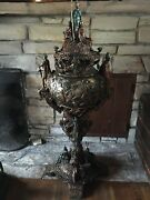 Roman Urn Bronze 52 Inches Tall Warrior Angle Vase Art Bust Angle Rare Antique