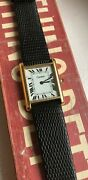 Vintage Tank Roman Numeral Dial Manual Wind Watch For Parts/ Repair