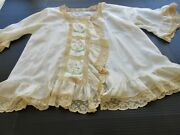 Antique French Silk And Valenciennes Lace Boudoir Jacket.hand Embroidery.one Size