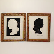 Vintage L Pierre Bottemer Signed Pair Silhouette Pictures Little Girl In Frames