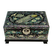 Mother Of Pearl Inlay Peacock Wood Lacquer Jewelry Trinket Keepsake Chest Box