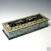 Mother Of Pearl Inlay Fish Desk Wood Pen Pencil Brush Holder Lid Case Box Gift