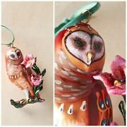 Anthropologie Sold Out Nathalie Lete Glass Owl Ornament Holiday Christmas Owlet