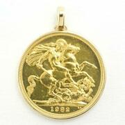 Sovereign 1pound British Coin Yellow Gold Pendant Top Free Shipping Used