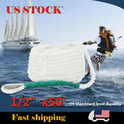 1/2x50and039 White Twisted Braid 3 Strand Boat Anchor Mooring Marine Dock Rope Line