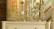 Set Of 3 Ethan Allen Candle Holders - Antique Silver Mercury Glass - Candlestick