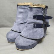 Rosy Womens Zip Up Side Buckle Accent 4 Wedge Heel Ankle Boot Size 7 M Blue New