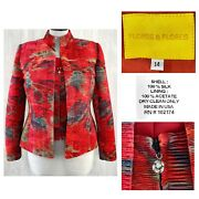 Flores And Flores 12 - 14 Dramatic Abstract Print Shirred Jacket 2 Piece Set Euc