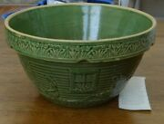 Vintage Green Glazed Mixing Bowl, Circa 1910 -- Girl W/the Watering Can