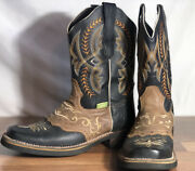 Mens Cheyenne Rodeo Leather Square Tip Cowboy Boots Oil Resistant Soles Sz. 9