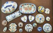 Vintage French Quimper Pottery Large Lot Including 3 Bowls 14 Lidand Candlestick