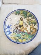 Rare Vintage French Pottery Painted Plate - Aih P. Azzobisp L@@k