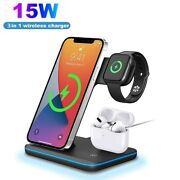 3in1 Qi Wireless Charger Dock Stand For Iwatch Air Pods Iphone 12 11 Samsung S21