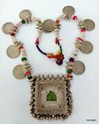 Vintage Antique Tribal Old Silver Necklace Coin Pendant Necklace Jewelry