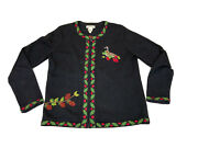 Vintage Orvis Embroidered Christmas Sweater Goose Womenand039s Size Small Zip Up 1999