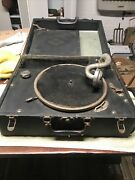 Antique Silvertone Deluxe Hand Crank Wind-up Portable Record Player Early 1900s