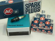 Nos Ac Delco Spark Plugs Original 4 Green Ring Acniter Flint Knurled R46n Chevy