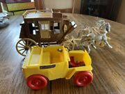 1950's Roy Rogers Ideal Playset Yellow Nellybelle Jeep And Stagecoach