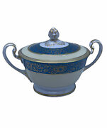 Noritake Vornay Turquoise Gold And Cream 4794 Covered Sugar Bowl Circa 1940s Japan