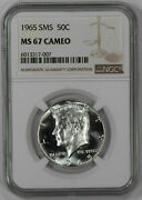 1965 Sms Kennedy Half Dollar 50c Ngc Ms 67 Mint State Uncirculated - Cameo 007