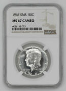 1965 Sms Kennedy Half Dollar 50c Ngc Certified Ms 67 Mint State Unc - Cameo 023