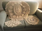 Lot Of 3 Hand Crocheted Doilies / Dresser/ Table Scarves New
