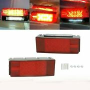 Red Left+right Led Submersible Trailer Boat Rectangle Stud Stop Turn Tail Lights