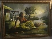 Uche Agonsi Mother And Baby In Village African/black Art Print Signed